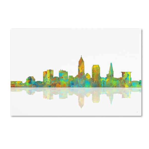 Marlene Watson 'Cleveland Ohio Skyline' Canvas Wall Art - Multi