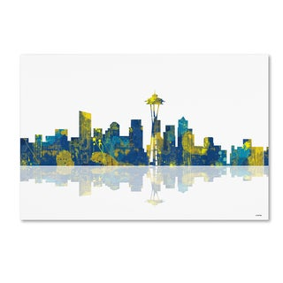 Marlene Watson 'Seattle Washington Skyline' Canvas Wall Art