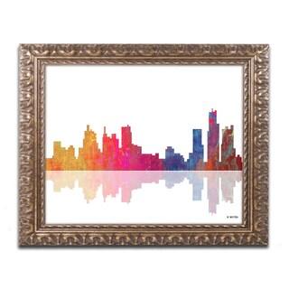 Marlene Watson 'Boston Massachusetts Skyline' Gold Ornate Framed Wall Art