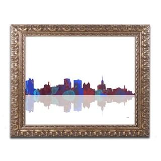 Marlene Watson 'Buffalo New York Skyline' Gold Ornate Framed Wall Art