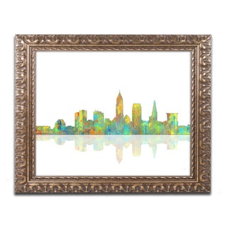 Marlene Watson 'Cleveland Ohio Skyline' Gold Ornate Framed Wall Art