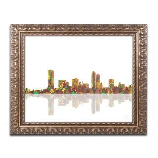 Marlene Watson 'Milwaukee Wisconsin Skyline' Gold Ornate Framed Wall Art