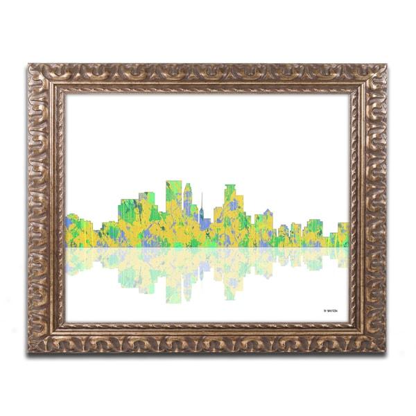 Shop Marlene Watson \'Minneapolis Minnesota Skyline\' Gold Ornate ...