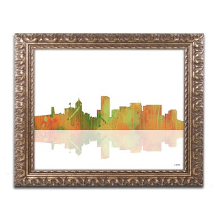 Marlene Watson 'Portland Oregon Skyline' Gold Ornate Framed Wall Art