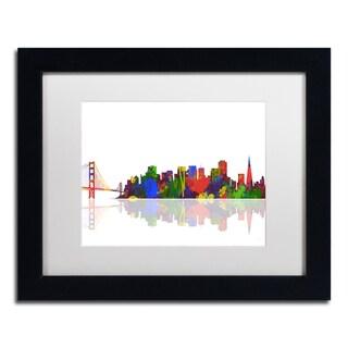 Marlene Watson 'San Francisco California Skyline' White Matte, Black Framed Wall Art
