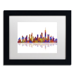 Marlene Watson 'Chicago Illinois Skyline 2' White Matte, Black Framed Wall Art