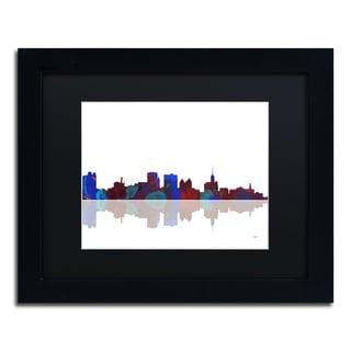 Marlene Watson 'Buffalo New York Skyline' Black Matte, Black Framed Wall Art