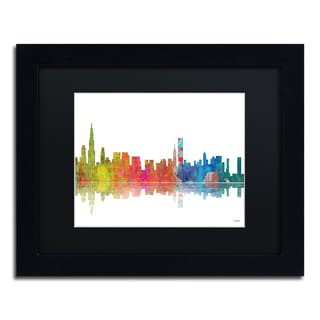 Marlene Watson 'Chicago Illinois Skyline' Black Matte, Black Framed Wall Art
