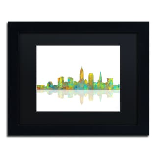Marlene Watson 'Cleveland Ohio Skyline' Black Matte, Black Framed Wall Art