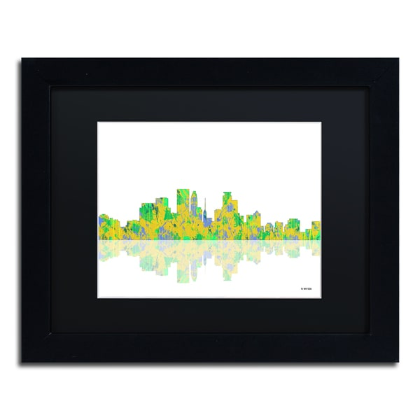 Marlene Watson 'Minneapolis Minnesota Skyline' Black Matte, Black Framed Wall Art