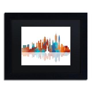 Marlene Watson 'New York New York Skyline' Black Matte, Black Framed Wall Art