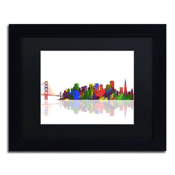 Marlene Watson 'San Francisco California Skyline' Black Matte, Black Framed Wall Art