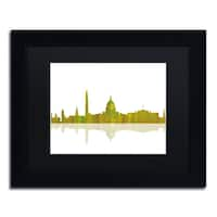 Marlene Watson 'Washington DC Skyline' Black Matte, Black Framed Wall Art