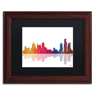 Marlene Watson 'Boston Massachusetts Skyline' Black Matte, Wood Framed Wall Art