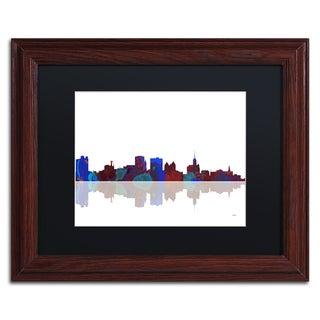 Marlene Watson 'Buffalo New York Skyline' Black Matte, Wood Framed Wall Art