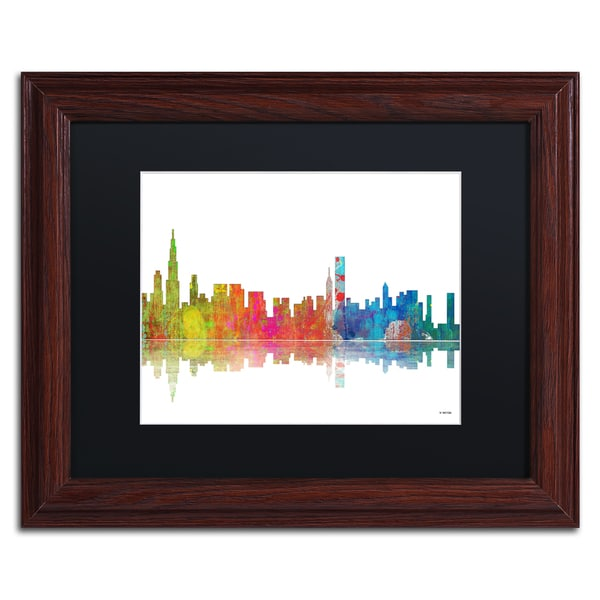 Marlene Watson 'Chicago Illinois Skyline' Black Matte, Wood Framed Wall Art