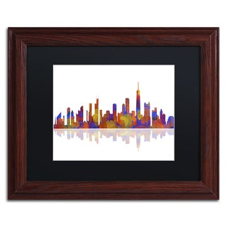 Marlene Watson 'Chicago Illinois Skyline 2' Black Matte, Wood Framed Wall Art