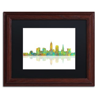 Marlene Watson 'Cleveland Ohio Skyline' Black Matte, Wood Framed Wall Art