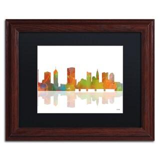 Marlene Watson 'Columbus Ohio Skyline' Black Matte, Wood Framed Wall Art