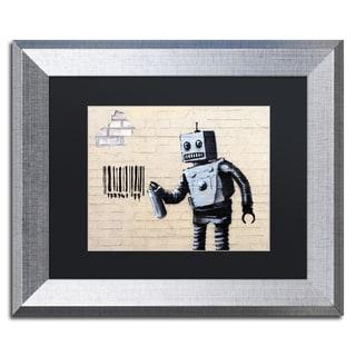 Banksy 'Robot' Black Matte, Silver Framed Wall Art