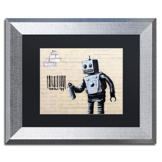 Banksy 'Robot' Black Matte, Silver Framed Wall Art