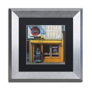 Eric Joyner 'Blue Zeroid' Black Matte, Silver Framed Wall Art
