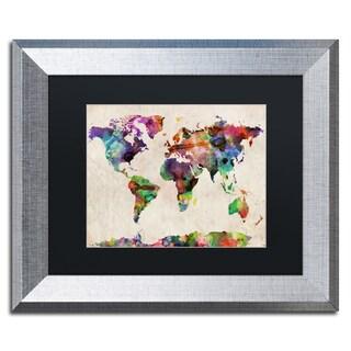 Michael Tompsett 'Urban Watercolor World Map' Black Matte, Silver Framed Wall Art