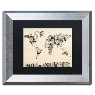 Michael Tompsett 'Old Clocks World Map' Black Matte, Silver Framed Wall Art