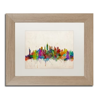 Michael Tompsett 'New York Skyline II' White Matte, Birch Framed Wall Art
