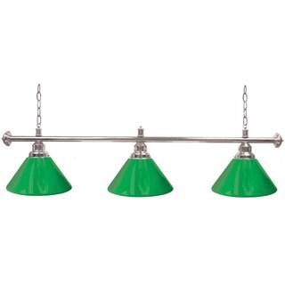 Premium 3 Shade Billiard Lamp Green and Silver