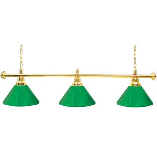 Premium 3 Shade Billiard Lamp Green and Gold