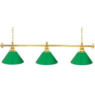 Premium 3 Shade Billiard Lamp Green and Gold