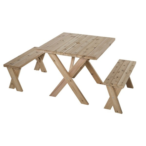 American Cross Leg 35 Inch Cedar Picnic Table