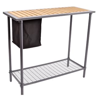 Steel Garden Utility Bench with Wooden Top