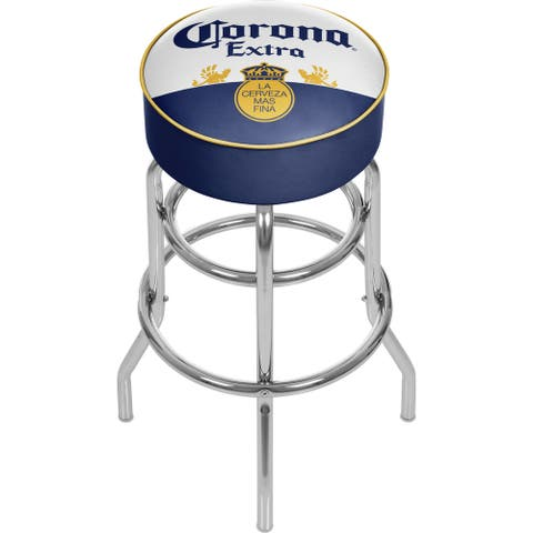 Corona Chrome Padded Bar Stool with Swivel - Label Design