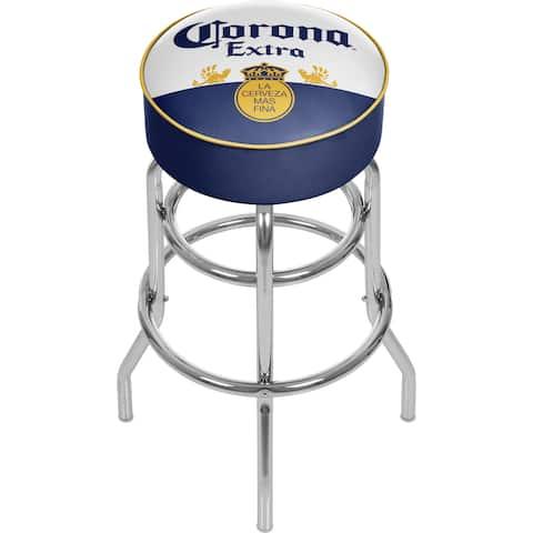 Corona Chrome Padded Bar Stool with Swivel - Label Design