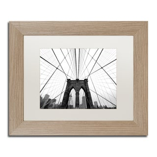 Nina Papiorek 'NYC Brooklyn Bridge' White Matte, Birch Framed Wall Art