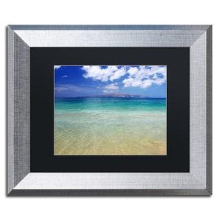 Pierre Leclerc 'Hawaii Blue Beach' Black Matte, Silver Framed Wall Art