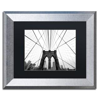 Nina Papiorek 'NYC Brooklyn Bridge' Black Matte, Silver Framed Wall Art