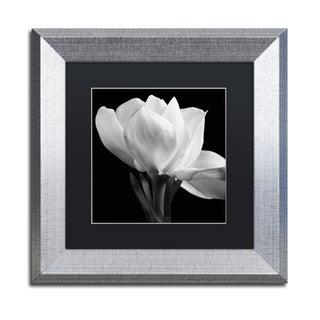 Michael Harrison 'Gardenia' Black Matte, Silver Framed Wall Art