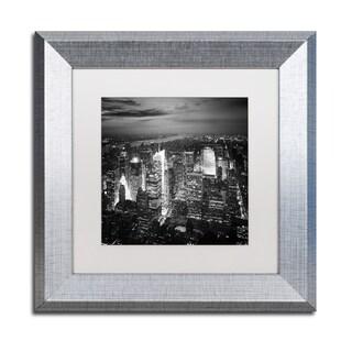 Nina Papiorek 'Times Square' White Matte, Silver Framed Wall Art