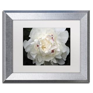 Kurt Shaffer 'Perfect Peony' White Matte, Silver Framed Wall Art