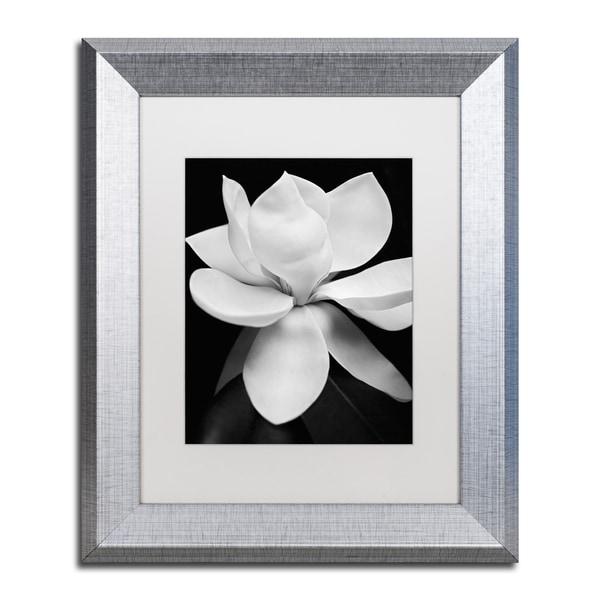 Shop Michael Harrison \'Magnolia\' White Matte, Silver Framed Wall Art ...