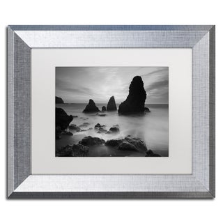 Moises Levy 'Rodeo Beach I Black and White' White Matte, Silver Framed Wall Art