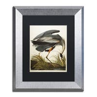 John James Audubon 'Great Blue Heron' Black Matte, Silver Framed Wall Art - Black/silver