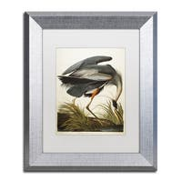 John James Audubon 'Great Blue Heron' White Matte, Silver Framed Wall Art