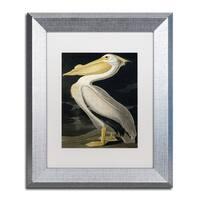 John James Audubon 'American White Pelican' White Matte, Silver Framed Wall Art