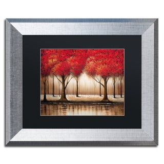 Rio 'Parade of Red Trees' Black Matte, Silver Framed Wall Art