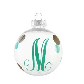 Mint and Gold Dots Monogram Initial Ornament https://ak1.ostkcdn.com/images/products/10698432/P17759694.jpg?impolicy=medium