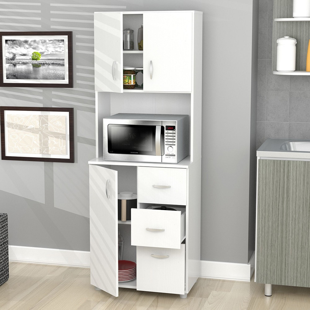 Bon Inval America Larcinia White Laminate/Wood Kitchen Storage Cabinet